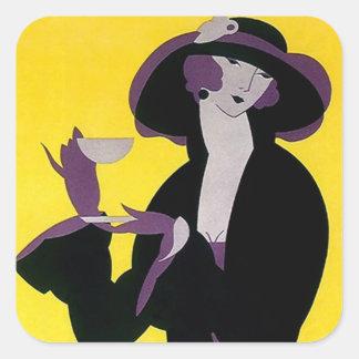 Señora del sostenido del art déco del té de tarde pegatina cuadrada