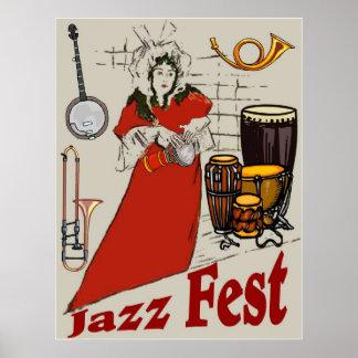 Señora del tambor del Fest del jazz Poster