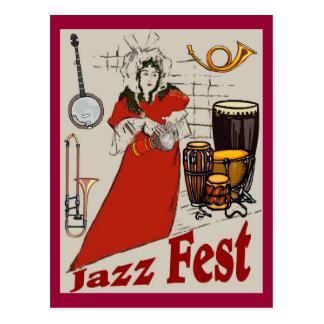 Señora del tambor del Fest del jazz Tarjeta Postal