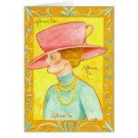 Señora del té de tarde tarjeta