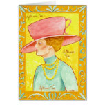 Señora del té de tarde tarjetas