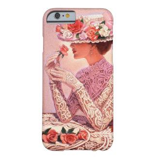 Señora del Victorian con la caja color de rosa del Funda De iPhone 6 Barely There
