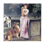 Señora del Victorian con los mascotas del perro Azulejo Ceramica