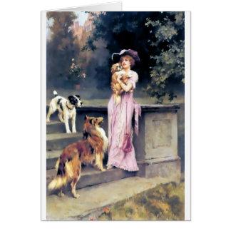 Señora del Victorian con los mascotas del perro Felicitacion