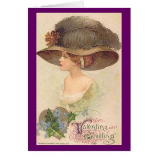 Señora del Victorian del vintage en tarjeta del dí