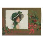 Señora del Victorian en la tarjeta de Navidad blan