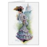 Señora del Victorian en vestido de la lavanda Tarjeton