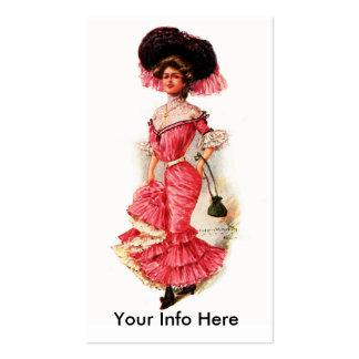 Señora del Victorian en vestido rosado Plantilla De Tarjeta De Visita