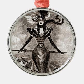 Señora del vintage adorno navideño redondo de metal