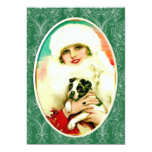 """Señora del vintage con Boston Terrier Invitación 5"""" X 7"""""""
