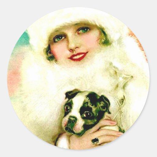 Señora del vintage con Boston Terrier Pegatina Redonda