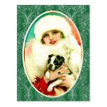 Señora del vintage con Boston Terrier Tarjetas Postales