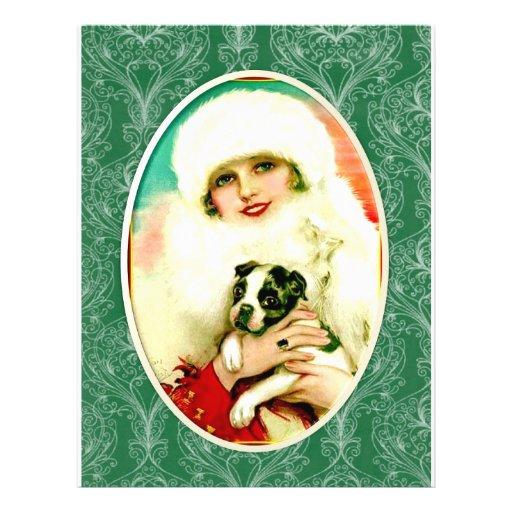 Señora del vintage con Boston Terrier Tarjeton