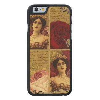 Señora del vintage con collage de la tiara y de funda de iPhone 6 carved® de arce