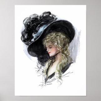 Señora del vintage con el gorra azul espectacular poster