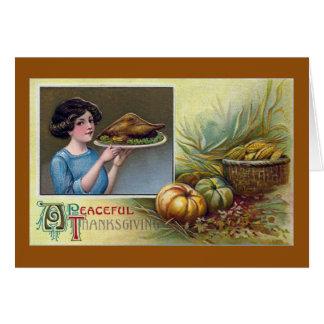 Señora del vintage con la carne asada Turquía para Tarjeta De Felicitación