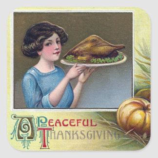Señora del vintage con la cena de Turquía para la Pegatina Cuadrada