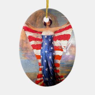 Señora del vintage de la bandera americana ornamente de reyes