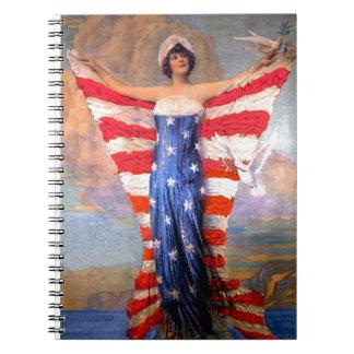 Señora del vintage de la bandera americana note book