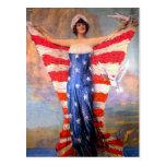 Señora del vintage de la bandera americana postales