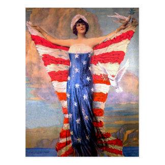 Señora del vintage de la bandera americana postal