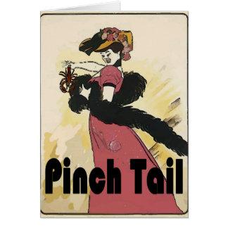Señora del vintage de la cola del pellizco de los tarjeta de felicitación
