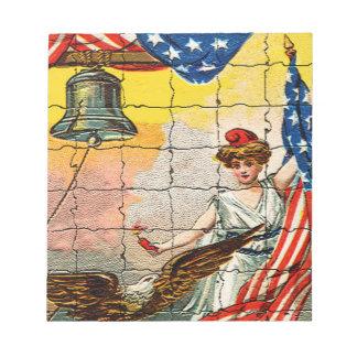 Señora del vintage, Eagle, bandera y Liberty Bell  Bloc