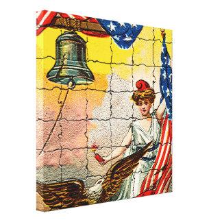 Señora del vintage, Eagle, bandera y Liberty Bell Impresión En Lienzo