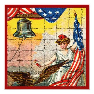 """Señora del vintage, Eagle, bandera y Liberty Bell Invitación 5.25"""" X 5.25"""""""