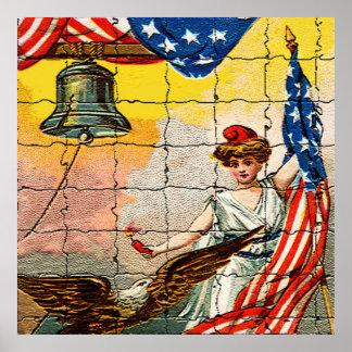 Señora del vintage, Eagle, bandera y Liberty Bell  Poster
