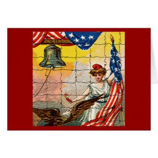 Señora del vintage, Eagle, bandera y Liberty Bell Tarjeta De Felicitación
