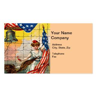 Señora del vintage, Eagle, bandera y Liberty Bell Tarjetas De Visita
