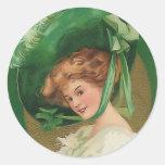 Señora del vintage en pegatina verde