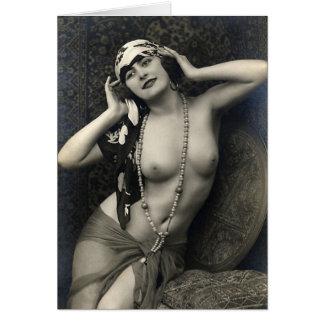 Señora desnuda Art del Tarjeta-Vintage Tarjeta De Felicitación