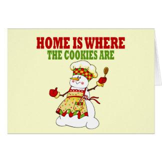 Señora divertida Cookie Chef de la nieve Tarjeta De Felicitación