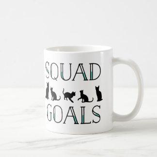 Señora divertida del gato de las metas del pelotón taza de café