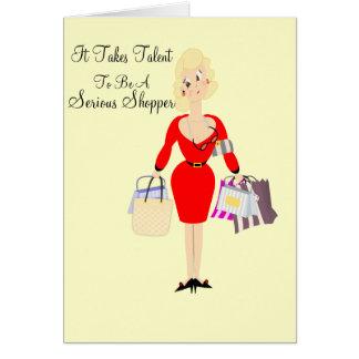 Señora divertida Shopping Theme de la tarjeta de c