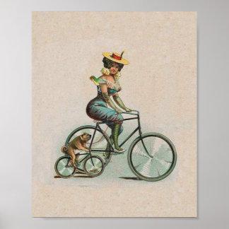 Señora Dog Bicycle del Victorian del vintage Póster