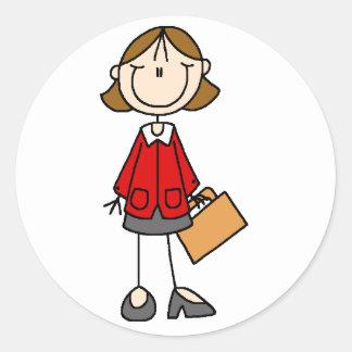 Señora Doodle Stickers del negocio Pegatina Redonda