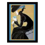 Señora Drinking Tea de Nouveau del arte Postales