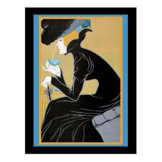 Señora Drinking Tea de Nouveau del arte Tarjeta Postal