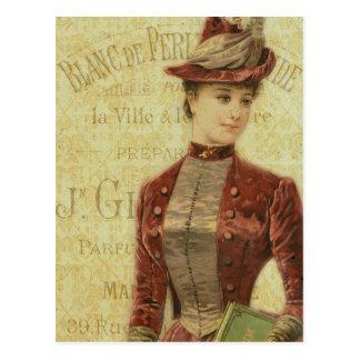 Señora Elegant Endpaper french Typography del vint Tarjetas Postales