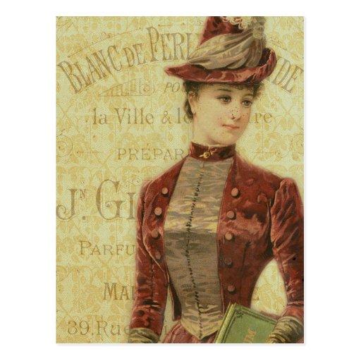 Señora Elegant Endpaper french Typography del vint Tarjeta Postal