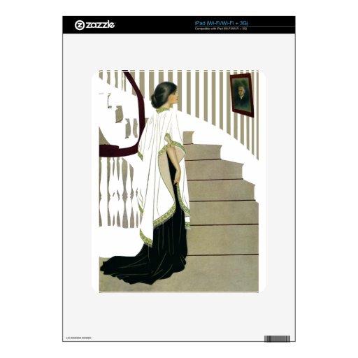 Señora elegante Ascends la escalera Calcomanías Para iPad