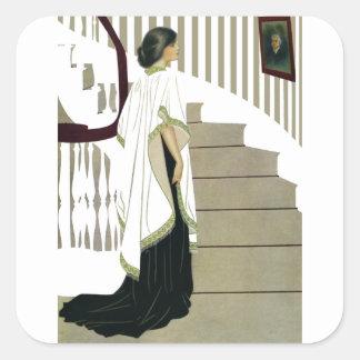 Señora elegante Ascends la escalera Pegatina Cuadrada