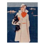 Señora elegante del vintage con la postal del perr
