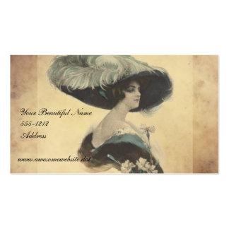 Señora elegante del vintage en tarjetas de visita
