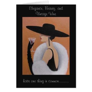 Señora elegante del vintage, tarjeta de cumpleaños