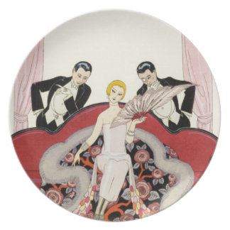Señora elegante en placa del art déco de París Plato De Comida