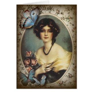 Señora elegante Fashion de París de la mariposa de Felicitaciones